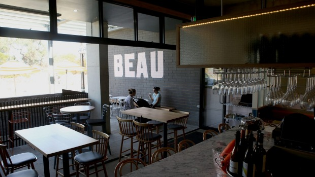 The casual and clean interior of Beau restaurant.