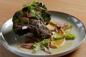 Char-grilled broccoli on eggplant puree.