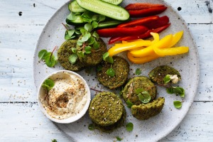 Falafels and vegies with hummus.