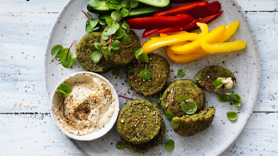 Falafel and vegies are healthy snacks to have on hand for when stress eating rears its ugly head.