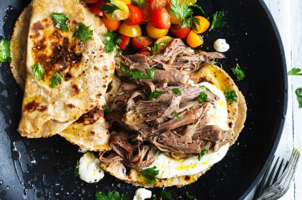Adam Liaw's slow cooked lamb with garlic yoghurt and wholemeal milkbread. <a ...