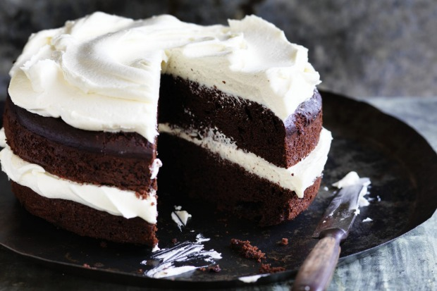 Dan Lepard's double chocolate olive oil cake with white chocolate mascarpone buttercream <a ...