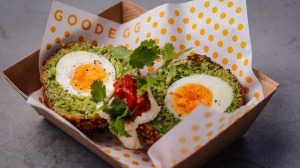 Falafel scotched egg with harissa and tahini.