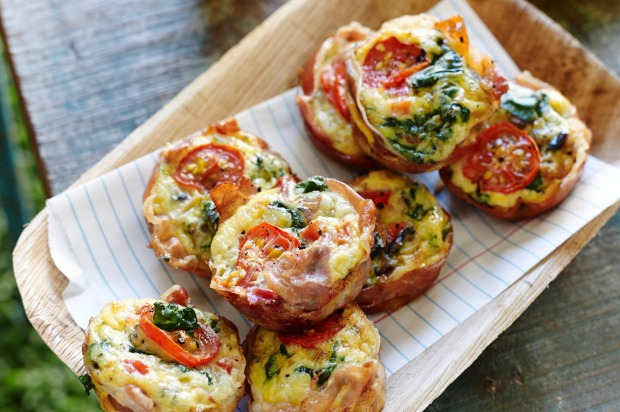 Pete Evans' prosciutto-wrapped paleo frittata muffins. <a ...