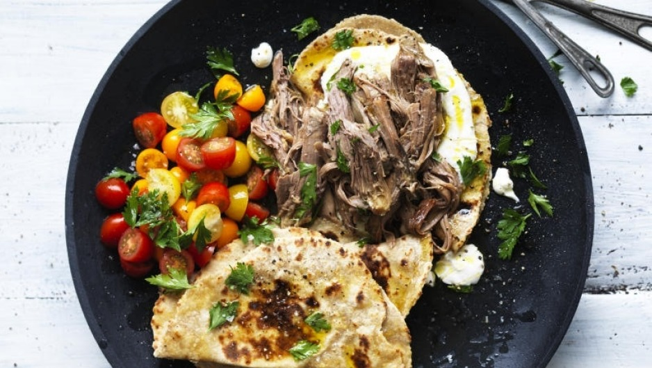 adam liaw recipe slow cooked lamb with garlic yoghurt and milkbread