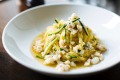 Tipo 00's spanner crab tagliolini with zucchini and chilli is equal eaten indoors or out.