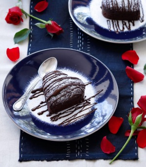 Roses are red, violets are blue, here's a chocolate fondant for two.