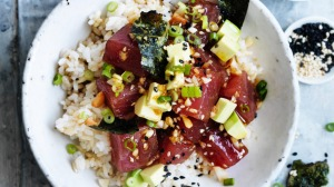 Tuna, nori and avocado poke bowls.