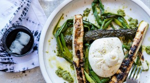Burrata cheese with charred zucchini and spring onions.
