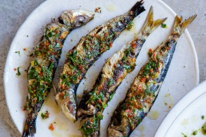 Barbecued sardines and burrata with charred zucchini and spring onions