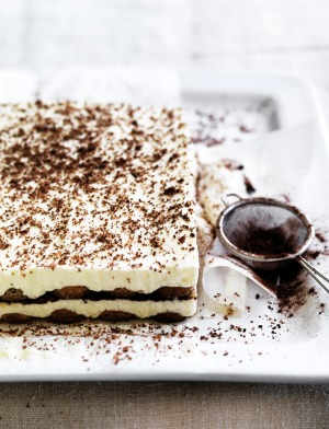 Neil Perry's tiramisu dusted with cocoa powder.