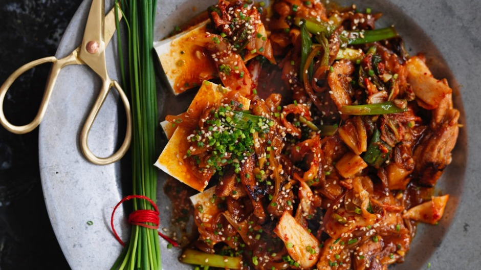 Pork belly and kimchi stir-fry with tofu recipe Recipe | Good Food