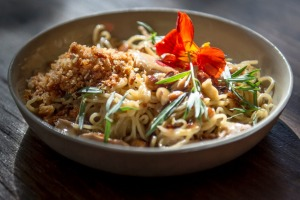 Linguine with braised rabbit, hazelnut, tarragon and smoked butter.