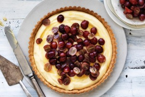 Adam Liaw's grape and honey creme flan.