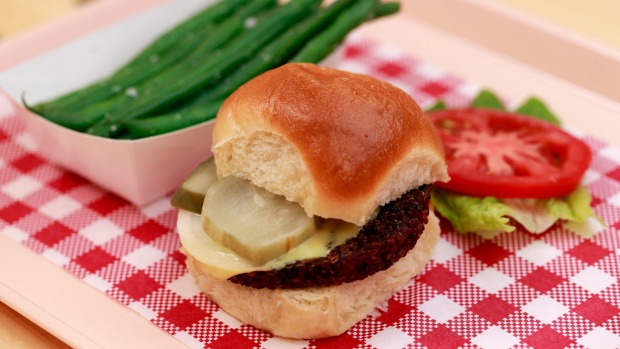 The shop-only veg supreme burger with steamed green beans.