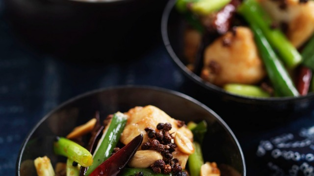 Neil Perry's stir-fried blue-eye trevalla with peanuts and dried chilli.