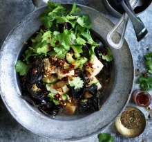 Silken tofu stir-fried with black vinegar and Sichuan pepper.