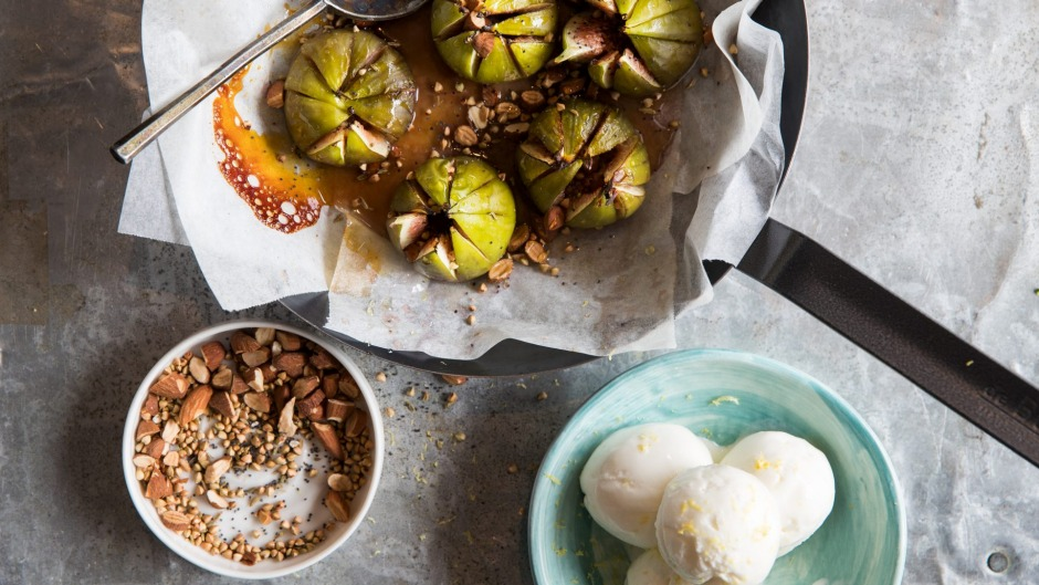 Roasted figs with yoghurt thyme ice-cream.