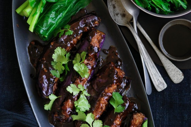 Stuffed eggplant with black bean sauce <a ...