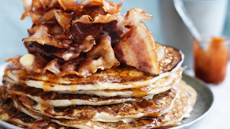 Jill Dupleix's Canadian flapjacks with hot maple syrup.