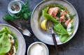 Jill Dupleix's Finnish spinach pancakes with smoked trout and dill.