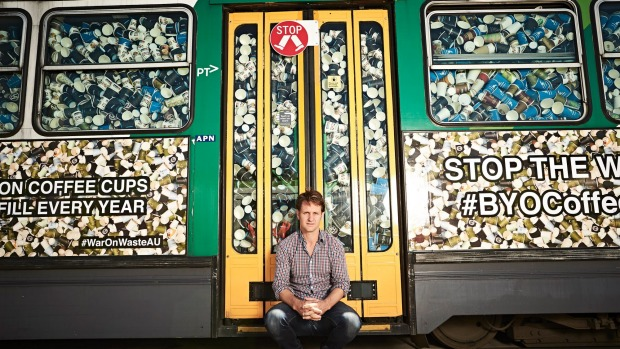 This A-class tram - stuffed with more than 50,000 takeaway coffee cups - represents what Australians send to landfill ...