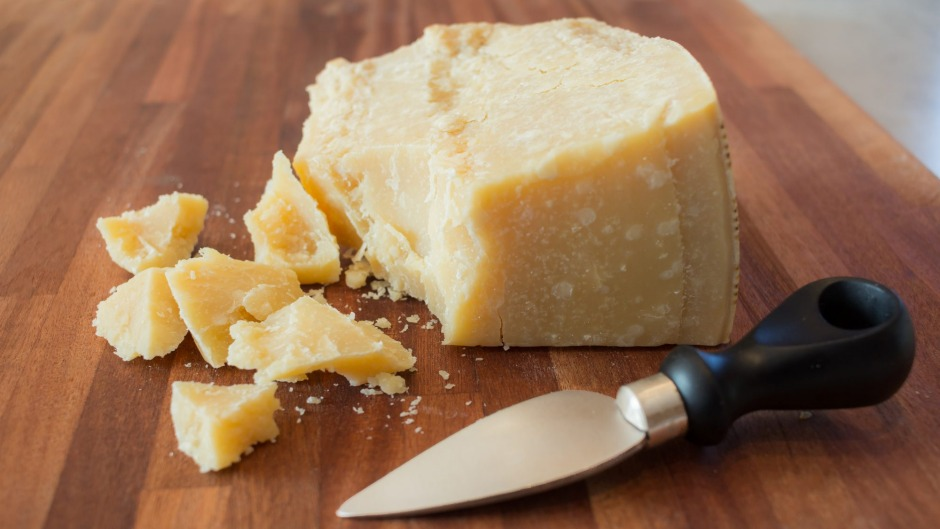 Incredible hunk: Aged parmigiano reggiano is rich in umami - and sometimes 'cheese crystals'.