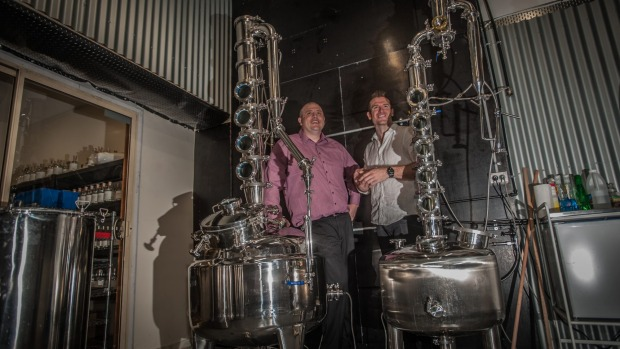 Toby Angstmann (left) and Andy Galbraith in the new Underground Spirits distillery in Canberra.