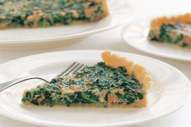 Salmon and spinach quiche. <a ...