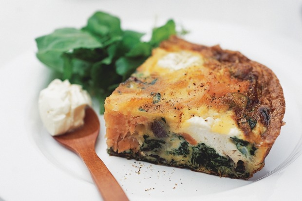 "Salmon frittata. <a href=""http://www.goodfood.com.au/recipes/salmon-frittata-20121001-3426l""><b>(Recipe here).</b></a>"