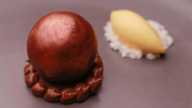 Chilli-chocolate sphere with kaffir lime and lemongrass ice-cream.
