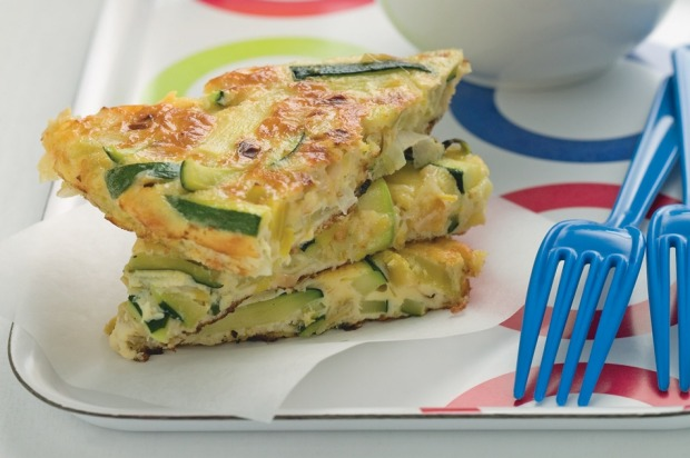 Leek, zucchini and cheese frittata. <a ...