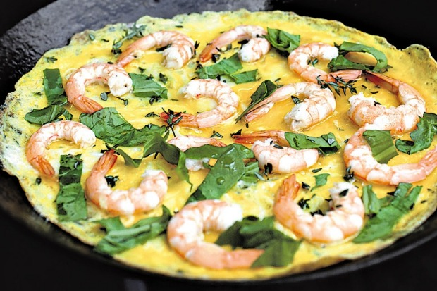 School Prawns, thyme and rocket frittata. <a ...
