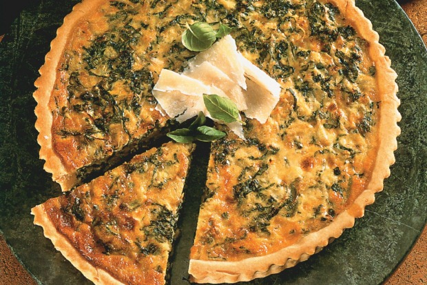 Rocket, basil and leek quiche. <a ...