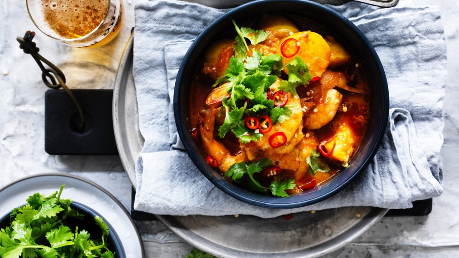 Tagine of prawns, and potatoes.