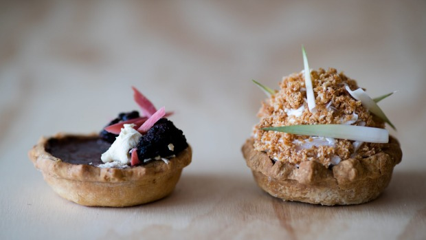 """Tarts: """"I've done a molasses and rhubarb brulee tart, like shoofly pie but more approachable ... There's rhubarb jam in ..."""