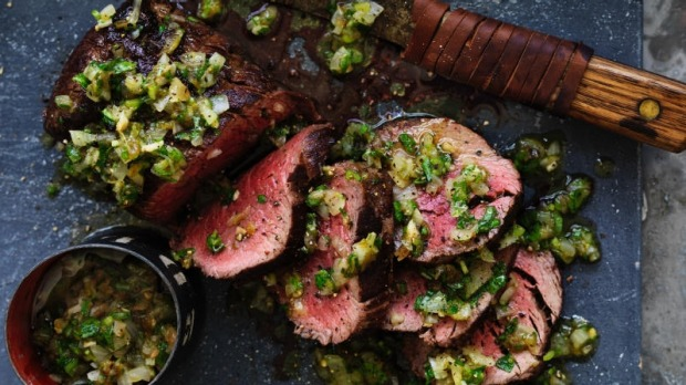 Rare Roast Beef With Blackened Green Chilli Salsa Recipe
