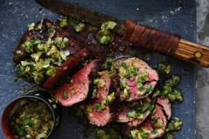 Rare roast beef with blackened green chilli salsa.
