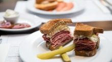 Great for lunch: the rye bread Reuben sandwich with  corned beef, pickled cabbage and swiss cheese.