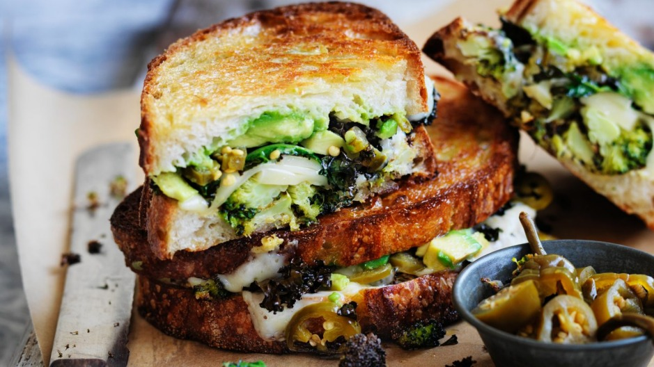 Eat your greens: Broccoli, kale and melting cheese combine to make a toastie like no other.