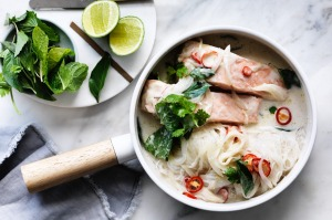 Salmon with coconut, glass noodles and herbs