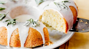 Yotam Ottolenghi's rosemary, olive oil and orange cake with crystalised rosemary sprigs.