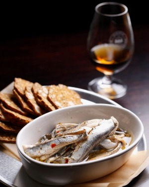 A dram and anchovies at the Whisky Room.