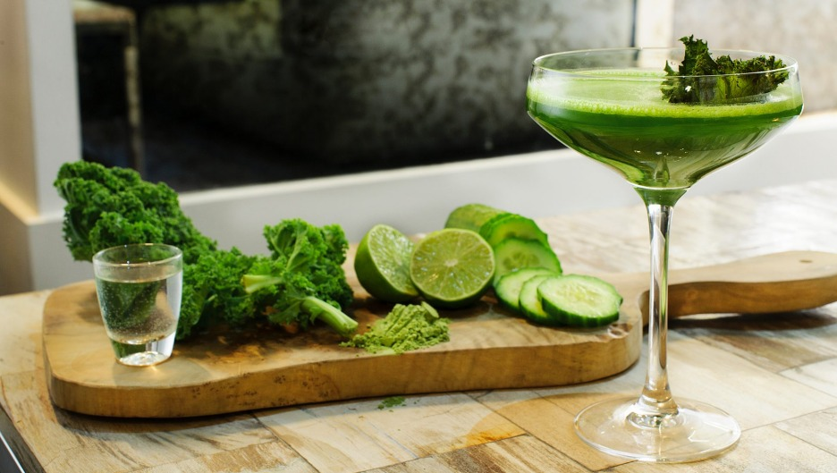 A green cocktail, part of the healthy alcohol movement.