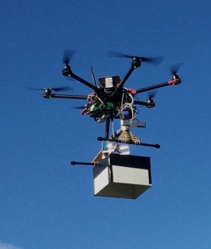 "UNSW engineering drone ""Flappy"" in flight carrying a mock payload. This kind of technology will eventually be used to ..."