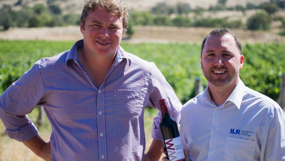 Winemaker Nick O'Leary and Corey Leeson from Local Liquor with the Canberra Day Walt 'n' Marion wine.