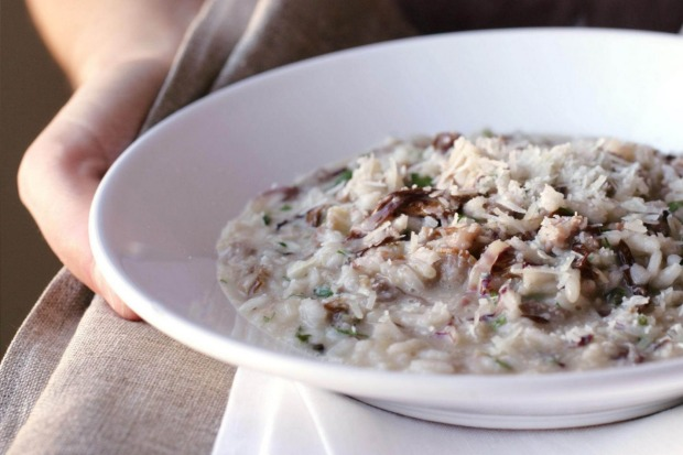 Risotto with pork sausage. <a ...