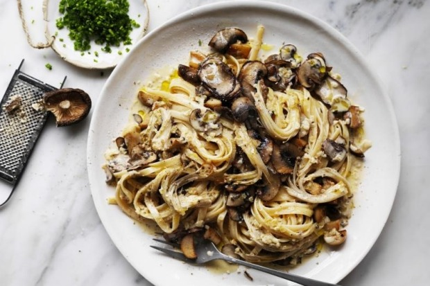 Simple five-mushroom fettuccini. <a ...