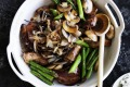 Cr: William Meppem SL Food, Nov 15 Adam Liaw's chicken, mushroom and asparagus stir-fry. SLIFE151115