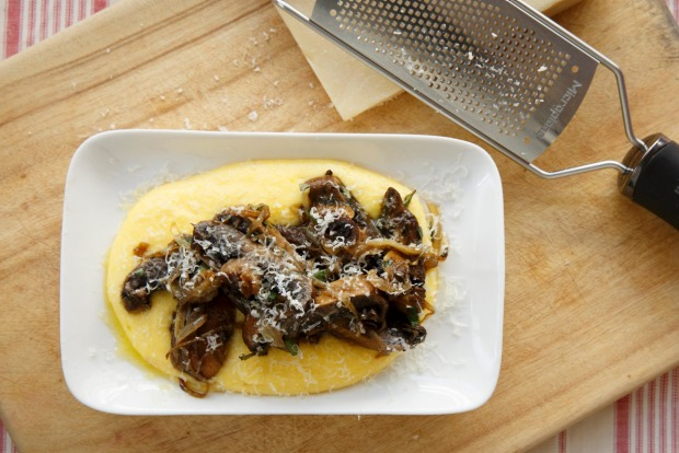 "Mushrooms and polenta. <a href=""http://www.goodfood.com.au/recipes/mushrooms-and-polenta-20150831-41xze""><b>(Recipe ..."